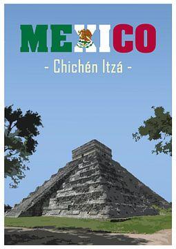 Vintage-Poster, Chichén Itzá, Mexiko von Discover Dutch Nature
