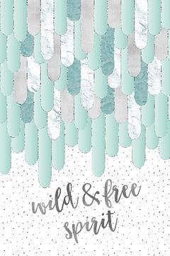 Grafikkunst Federn WILD & FREE SPIRIT | mint von Melanie Viola