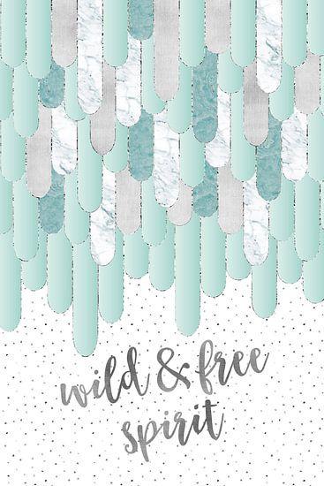 Grafische kunst veren WILD & FREE SPIRIT | mint
