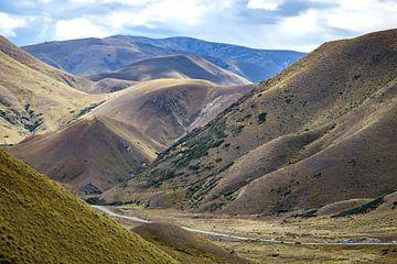 Lindis Pass, bergpas in Otago, Nieuw Zeeland van