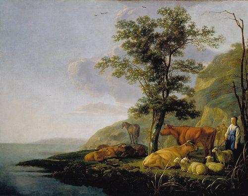 Albert Cuyp. Vee nabij een de rivier van 1000 Schilderijen