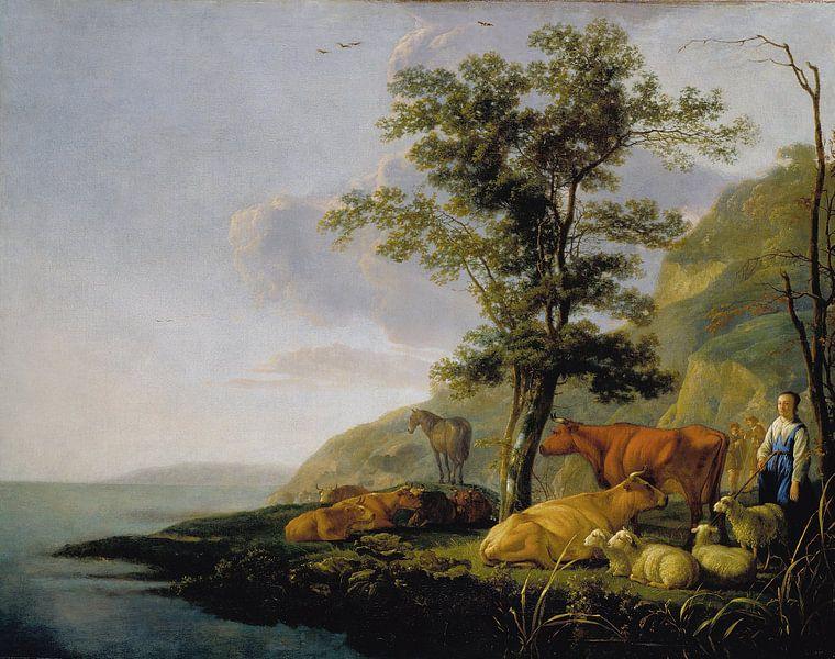 Albert Cuyp Vieh in der Nähe eines Flusses von 1000 Schilderijen