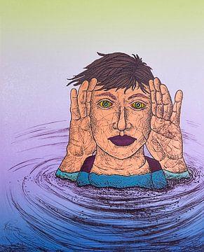 Man In Water van Helmut Böhm