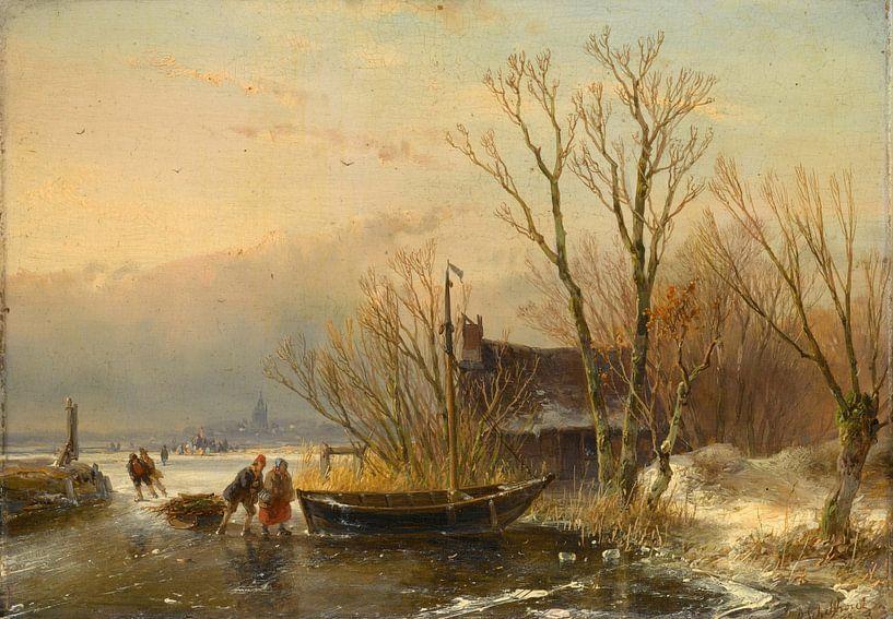 Winterszene auf dem Eis mit Holzsammlern, Andreas Schelfhout von Meesterlijcke Meesters