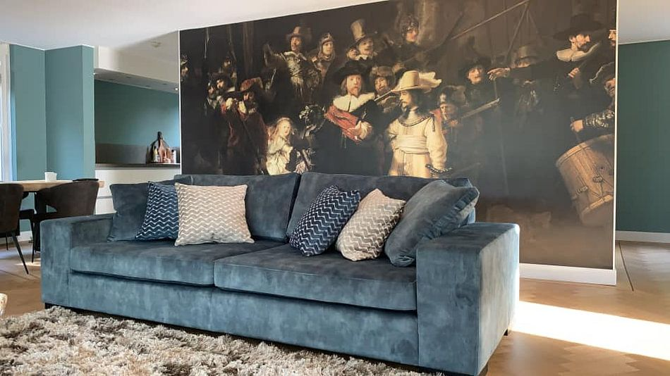 Klantfoto: De Nachtwacht, Rembrandt van Rijn van Rembrandt van Rijn, op naadloos behang