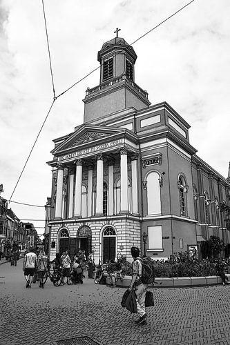 Pentekening Leiden Hartebrugkerk Tekening Lijntekening