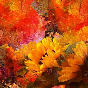 Sonnenblumen vor herbstlicher Kulisse von Andreas Wemmje
