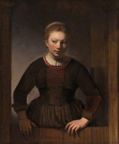 Vrouw bij een half open deur, Samuel van Hoogstraten von Meesterlijcke Meesters