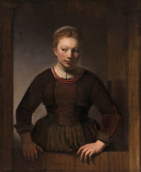 Vrouw bij een half open deur, Samuel van Hoogstraten van Rembrandt van Rijn