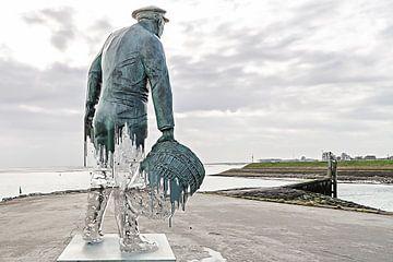 Die Statue des Muschelmannes in Yerseke hat Winterzelte. von Art by Jeronimo
