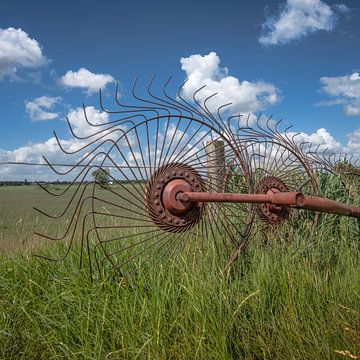 Paysage d'herbe à Gaasterland, en Frise, avec un fendeur de foin sur Harrie Muis
