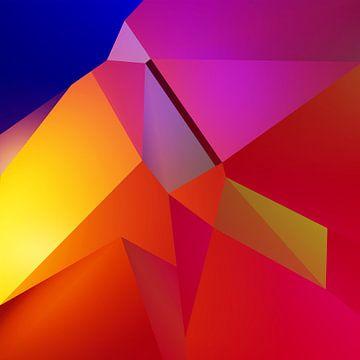 Abstract Kubisme Gezicht van Pat Bloom - Moderne 3D, abstracte kubistische en futurisme kunst