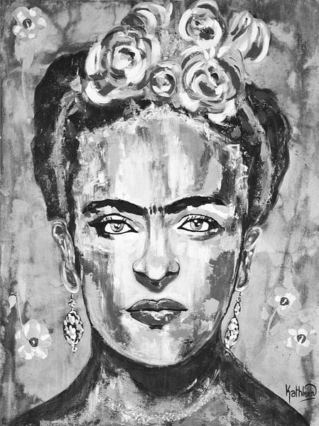 Frida Kahlo Schwarz und Weiß Blumen von Kathleen Artist Fine Art