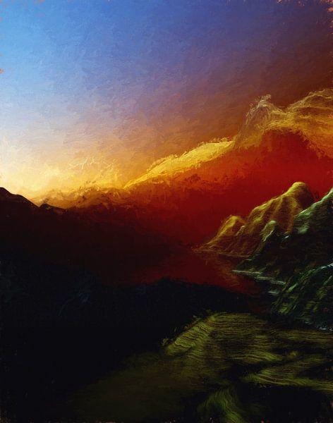 Coucher de soleil dans les montagnes 18 van Angel Estevez