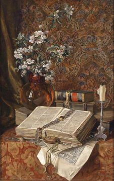 Francesco Malacrea-Stilleben mit Laub und Kirschblüten