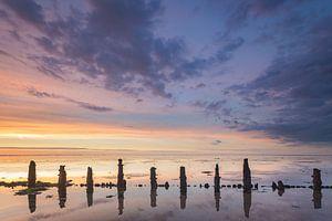 Paaltjes @ Waddenzee bij Wierum tijdens zonsondergang van