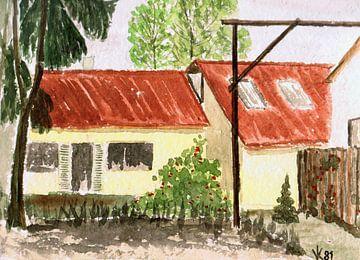 Gezicht op een huis - Dettenhausen - aquarel geschilderd door VK (Veit Kessler) 1981