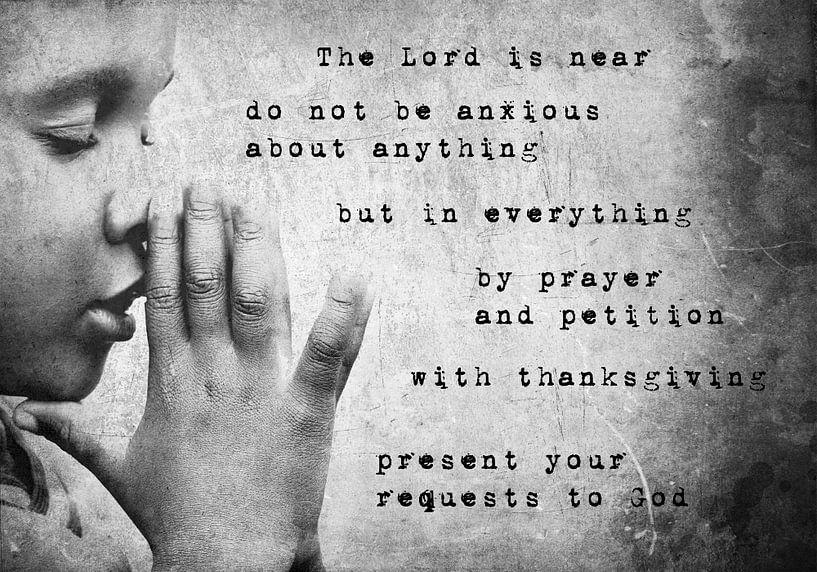 Christian prayer text design Philippians 4:5-6 von Heleen van de Ven