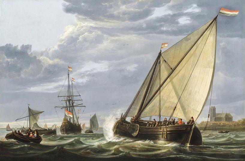 Schifffahrt auf der Maas, Dordrecht, Aelbert Cuyp von Meesterlijcke Meesters