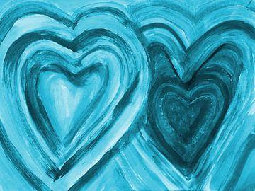 Zwei Herzen vereint - blau van Katrin Behr