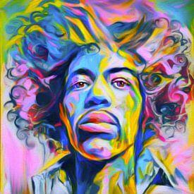 Motief Jimi Hendrix Regenboogkleuren van Felix von Altersheim