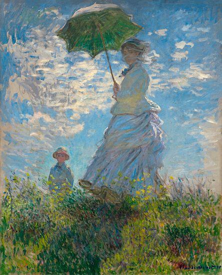 Vrouw met een Parasol, Mevrouw Monet en haar zoon, Claude Monet