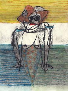 Frau mit gepunktetem Kleid von Masch