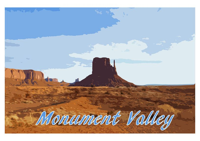 Vintage-Poster Monument Valley, Utah USA von Discover Dutch Nature