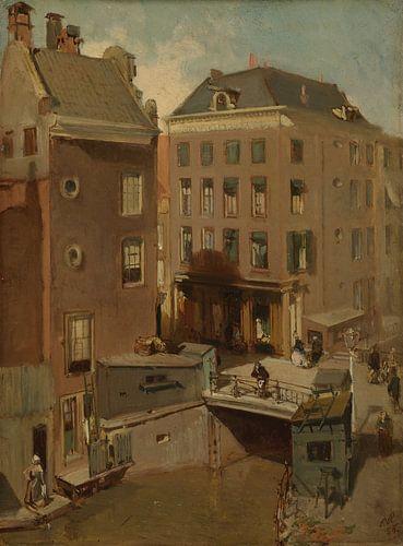 Amsterdam schilderij De Osjessluis bij de Kalverstraat te Amsterdam van