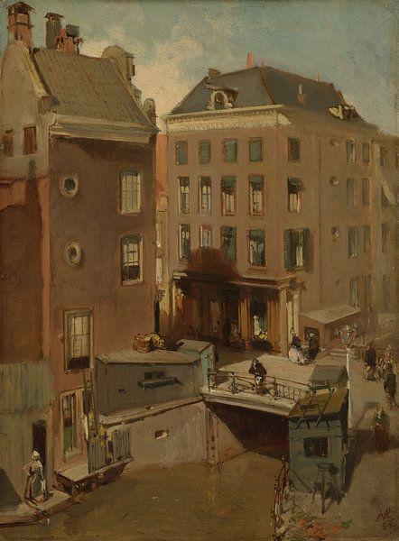 Amsterdam schilderij De Osjessluis bij de Kalverstraat te Amsterdam van Schilderijen Nu