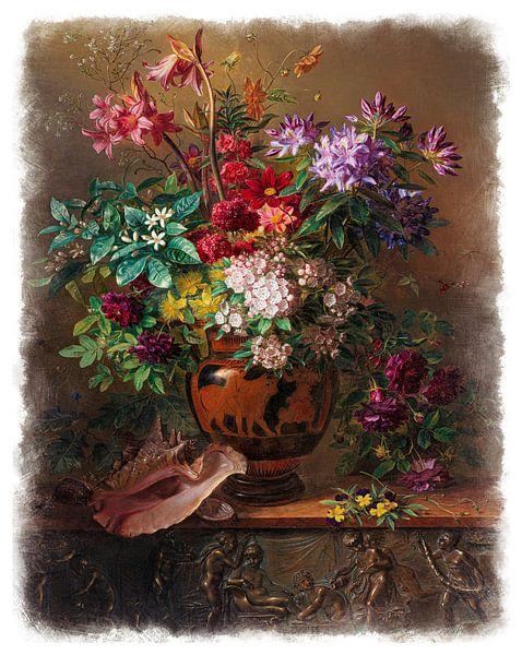 Oude Meesters serie #8 - Stilleven met bloemen in een Griekse vaas: allegorie op de Lente, Georgius  van Anita Meis