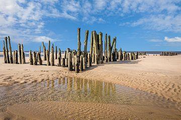 Oude kribben op het strand van Rantum, Sylt van Christian Müringer