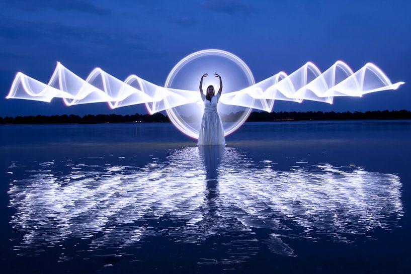 Lightpainting aan zee van Liesbeth van Asselt