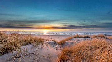 Paal 17 Texel zonsondergang sur