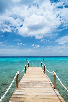 Pier op tropisch strand Kokomo beach van Keesnan Dogger Fotografie