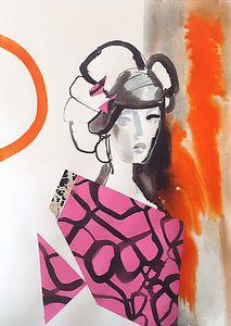 Geisha mit rosa Kimono