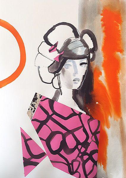 Geisha mit rosa Kimono von Helia Tayebi Art