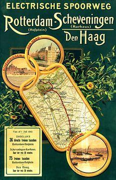 Affiche Rotterdam-Hofplein - Scheveningen-Kurhaus 1910 van Arjen Roos