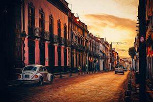 Zonsopkomst in de straten van Puebla - Mexico. van