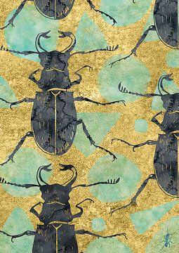 Käfer auf Gold von Jadzia Klimkiewicz
