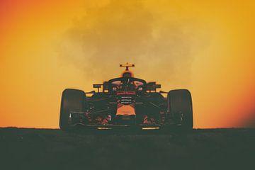 Max Verstappen - F1-Redbull-Rennen bei Sonnenuntergang von Kevin Baarda