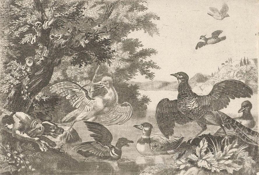 Watervogels en een hond, Melchior d'Hondecoeter van Meesterlijcke Meesters