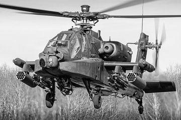 AH-64D Apache gevechtshelikopter (zwart/wit) van Jimmy van Drunen