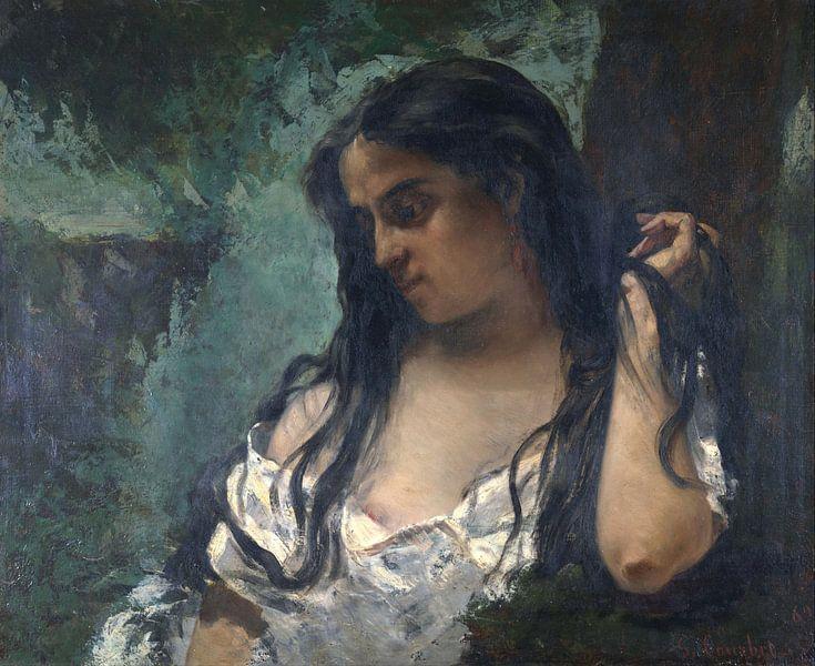 Gypsy in Reflection, Gustave Courbet von Meesterlijcke Meesters