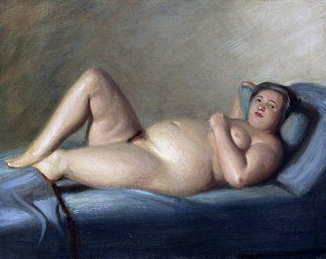 Liegender korpulenter Akt, Georg Scholz, 1930