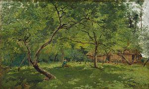 Ein Bauernhof in einer bewaldeten Landschaft