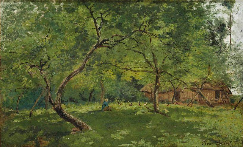 Ein Bauernhof in einer bewaldeten Landschaft von Antonije Lazovic