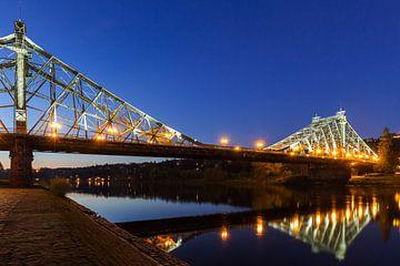 Dresde - Pont de Loschwitz (Blaues Wunder) à l'heure bleue