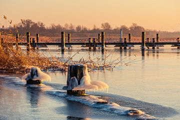 Uitzicht over de Warnow met paal en voetgangersbrug in de winter van Rico Ködder