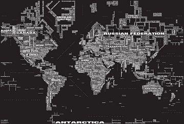 Typografische Weltkarte, Schwarz